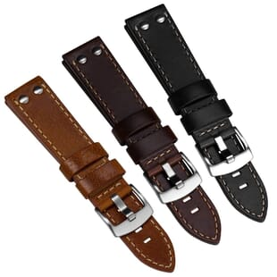 Geckota Aldergrove Aviation Genuine Leather Watch Strap