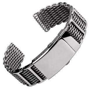 Fold-over H link Shark Mesh Stainless Steel Watch Strap