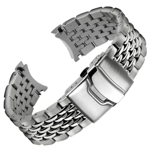 Beads of Rice Solid Curved Ends Watch Strap for Geckota C-01