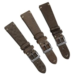 (B-GRADE) Geckota Winstone (MKII) Vintage Leather Watch Strap - Beige Grey