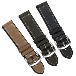 ZULUDIVER Carbis Quick-Release Silicone Rubber With Crazy Horse Leather Insert Watch Strap