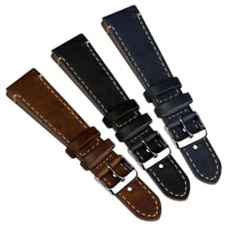 Genuine Leather Helmsley Flat Cut Edge Watch Strap