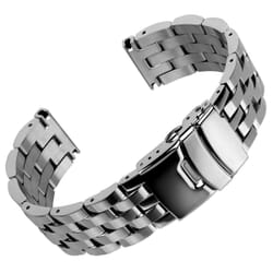 Solid 5 Link Stainless Steel Watch Strap by Geckota