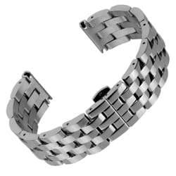 Butterfly Buckle Solid 5 Link Stainless Steel Watch Strap