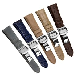 Edwyn Genuine Leather Deployment Buckle Watch Strap