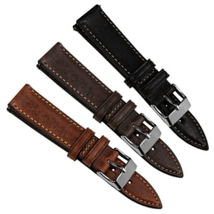 Contoured Italian Leather Quick Release Watch Strap - Shorter Length