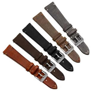 Cheswell Vintage Genuine Leather Watch Strap Quick Release Spring Bars