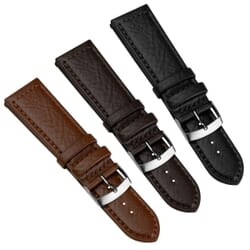 Paladina Wide Fitting Buffalo Grain Genuine Leather Watch Strap