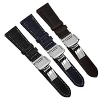 Edwyn Italian Leather Deployment Buckle Watch Strap with Quick-Release Spring Bars