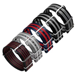 Pro ZULUDIVER Striped Herringbone NATO Watch Strap, Polished Hardware